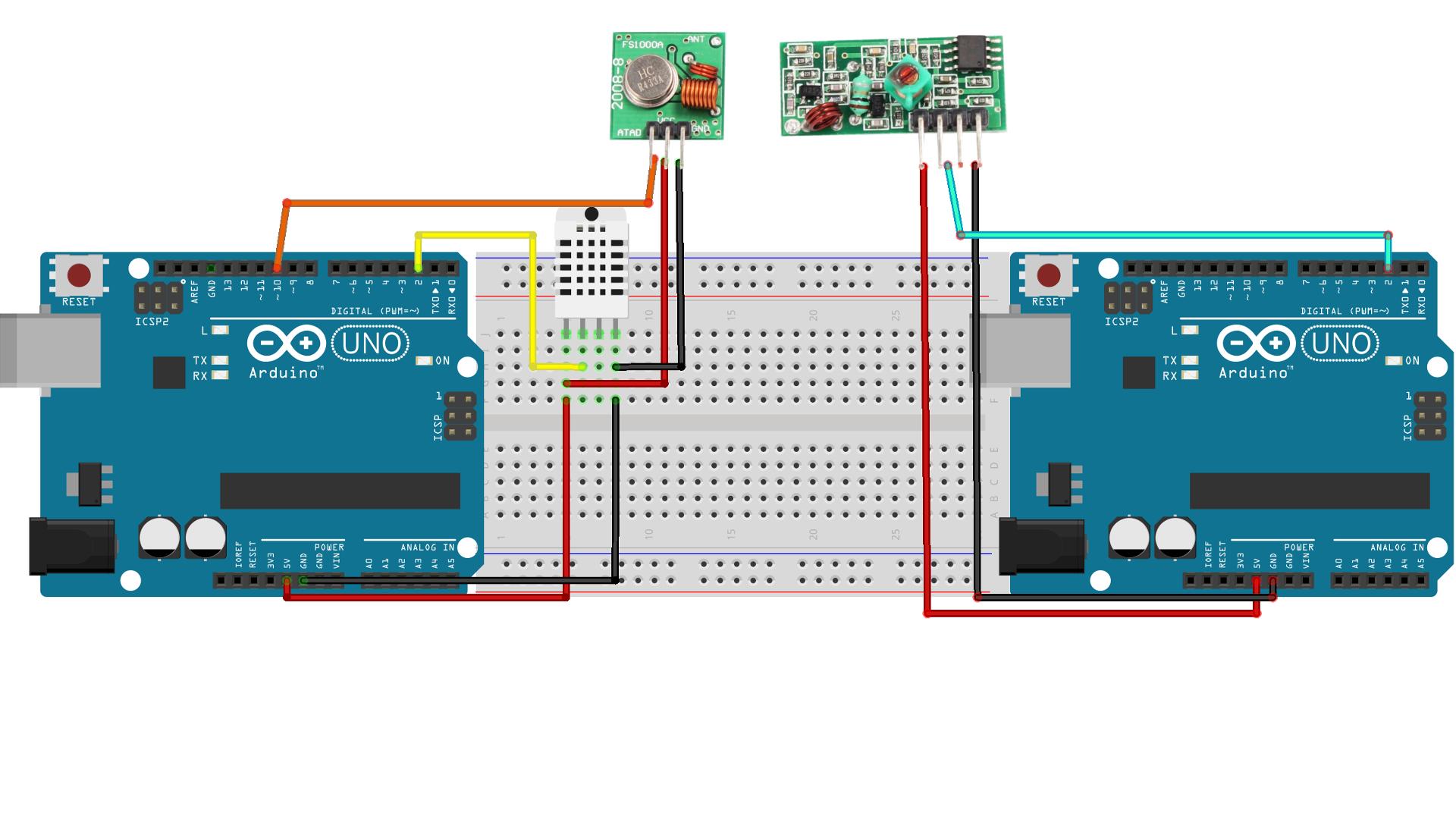 Arduino module RF 433Mhz pour la transmission sans fil et DHT11 pour
